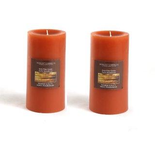 Hosley Set of 2 Rustic Sandalwood 6Inchs Pillar Candles