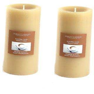 Hosley Set of 2 Hazelnut Creme 6Inchs Pillar Candles