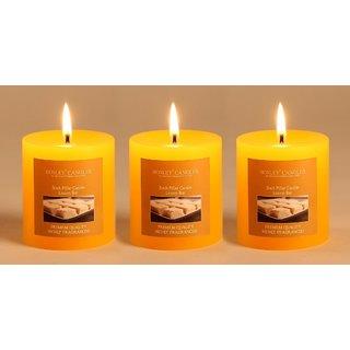 Hosley Set of 3 Lemon Bar 3Inchs Pillar Candles