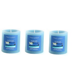 Hosley Set of 3 Caribbean Breeze 3Inchs Pillar Candles