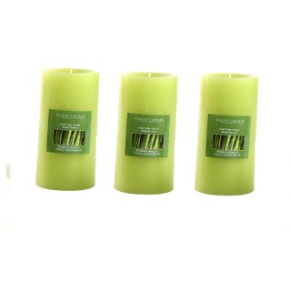 Hosley Set of 3 Fresh Bamboo 6Inchs Pillar Candles