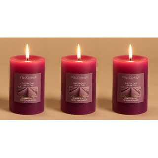 Hosley Set of 3 Lavender Fields 4Inchs Pillar Candles