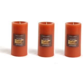 Hosley Set of 3 Rustic Sandalwood 6Inchs Pillar Candles