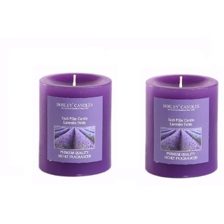 Hosley Set of 2 Lavender Fields 3Inchs Pillar Candles