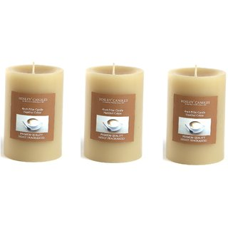 Hosley Set of 3 Hazelnut Creme 4Inchs Pillar Candles