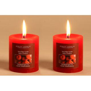 Hosley Set of 2 Apple Cinnamon 3Inchs Pillar Candles