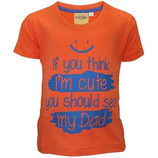 Tumble Orange Half Sleeves T-Shirt Text Print