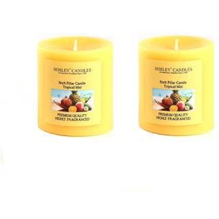 Hosley Set of 2 Tropical Mist 3Inchs Pillar Candles