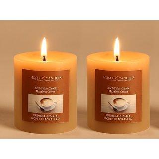 Hosley Set of 2 Hazelnut Creme 3Inchs Pillar Candles