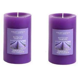Hosley Set of 2 Lavender Fields 4Inchs Pillar Candles