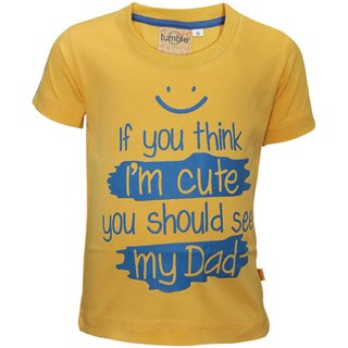 Tumble Yellow Half Sleeves T-Shirt Text Print