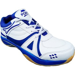 Aryans Mens Macy White Blue Pvc Badminton Sports Shoes