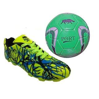 Port Unisex Green Fantom PU Football Shoes