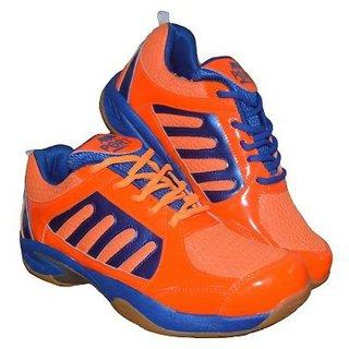 Aryans Mens Finn Orange Pvc Badminton Sports Shoes