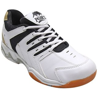 Aryans Mens Coopy White Black Pvc Badminton Sports Shoes