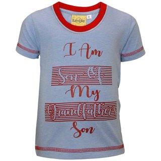 Tumble Blue Half Sleeves T-Shirt Text Print