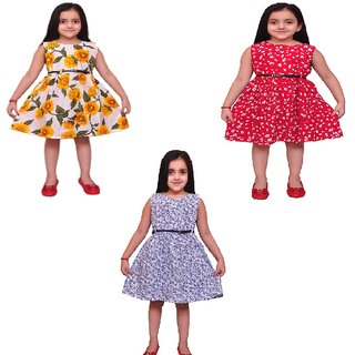 Meia for girls mutlicolor cotton frocks (Pack of 3)