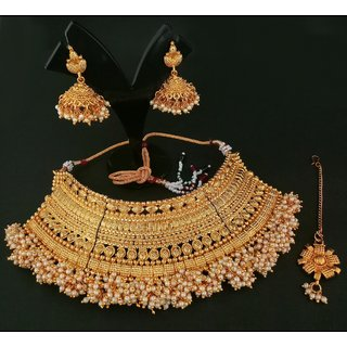 JewelMaze Pearl Copper Necklace Set With Maang Tikka-1107937