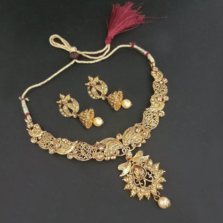 JewelMaze Brown Austrian Stone Gold Plated Necklace Set-1107957