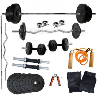 Body Maxx 20 Kg Home Gym 2 Dumbbell Rods, 1 Curl rod,1 Straight rod, 1 Pair Gym glove, 1 Hand Grip , 1 Skipping Rope