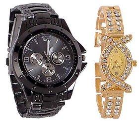 Varni Retail Full Black Men And AKS Golden Diamond Women Couple Combo Watch For Couple