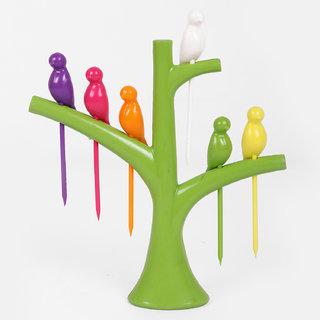 Bluzon ABS Plastic 6 fruit Fork 1 Fork Stand Fruit Vegetable Fork (Multicolor)