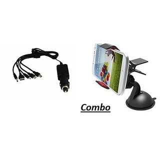 Combo for 5 in 1 Car Charger with Mobile Holder