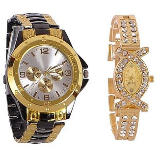 Varni Retail Gold Black Silver Dial Men And AKS Golden Women Couple Combo Watch For Couple