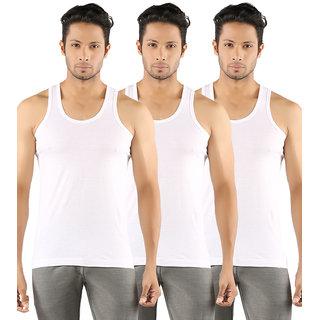 Solo Men's Round Neck Sleeveless U Shape White Fine Vest (Pack of 3)