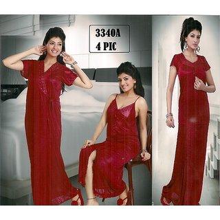 333A Hot Sleep Wear 4p Top Lungi Nighty Robe Night Daily Maroon Bed Fun Set  Be 45b519e2e