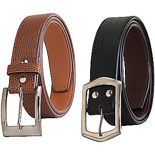 RK Combo of 1 Black 1 Brown Belts Combo (Synthetic leather/Rexine)