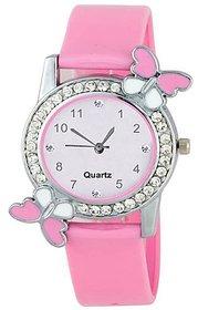 Varni Retail Pink Dial With Diamond Silver Case Pink Belt Designer Girls Wrist watch For Women 6 MONTH WARANTY