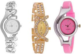 Varni Retail Stylish Silver Chain + Diamond AKS With Pink Glory Girls Wrist Watch Combo For Women 6 month warranty