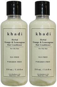 Khadi Herbal Orange  Lemongrass Hair Conditioner SLS-Paraben Free - 210ml (Set of 2)