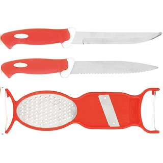3 pcs Combo of Knifes and Peller  (2pc Knifes + 1 pcs 3in1 Peeler) (Assorted)