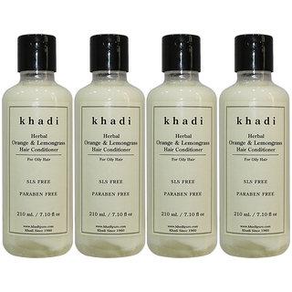 Khadi Herbal Orange Lemongrass Hair Conditioner SLS-Paraben Free - 210ml (Set of 4)