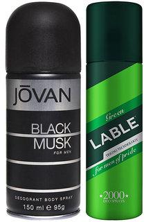 Combo of Jovan Black Musk Deodorant And Green Lable Deodorant
