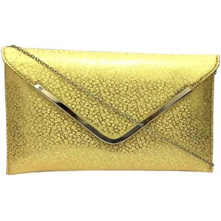 Ratan's Golden PU Casual / party clutch