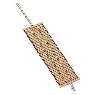 Voylla Golden Broad Band Bracelet