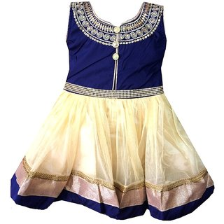 All About Pinks' Ethnic Flared Dress for girls in Blue colour (1 to 2 years)