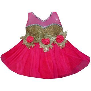 All About Pinks' Embellished Layer Dress in Pomegranate Pink for girl baby (12 - 18 Months)