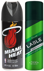 Combo of NBAMiami Heat DeodorantAnd Green Lable Deodorant For Men