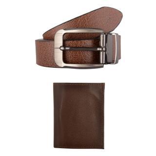 Exotique Mens Brown Casual Belt & Wallet Combo (EC0011BR)