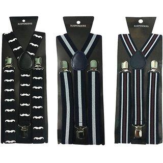 Atyourdoor Y- Back Suspenders for Men(Moustache WL Black Line)