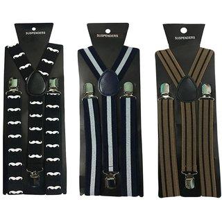 Atyourdoor Y- Back Suspenders for Men(Moustache WL Brown Line)