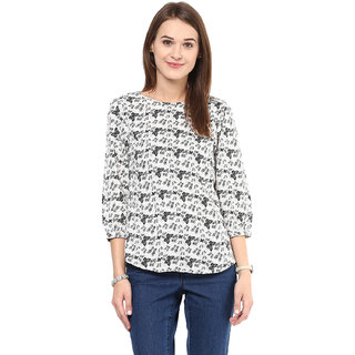 Arovi Womens White Butterfly Printed Polyester Top
