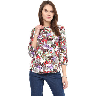 Arovi Womens Printed Multicoloured Polyester Top