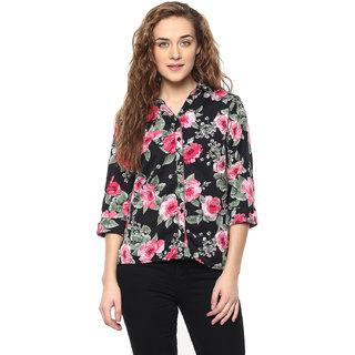 Arovi Womens Floral Print Black Polyester Shirt