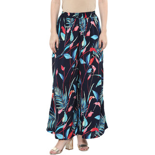 The Shopping Fever Womens Navy Blue Ankle Length Crepe Palazzos