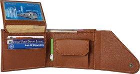 Tri-Fold Brown Single Folder Leather Wallet for Men